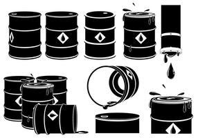 Vektor uppsättning oljetrummor