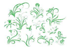 Freier Weinlese-Blumenverzierung-Vektor