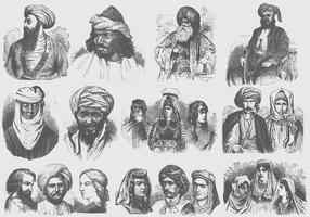 Mellanöstern-Turbaner vektor