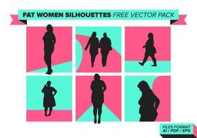 Feta kvinnor silhuetter fri vektor pack