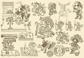Antike aztekische Zeichnungen vektor