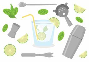 Flaches Caipirinha Icon Set