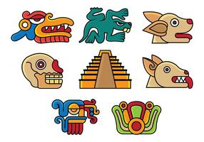 Set von Quetzalcoatl Icons vektor