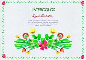 Akvarellinbjudan med timianblommor och löv