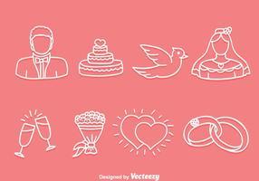 Handdragen bröllops ikoner vektor