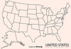 Blank Outline Karte von USA vektor