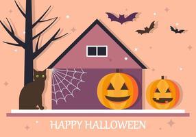 Glad Halloween House Vector Bakgrund