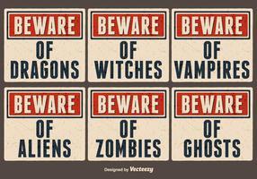 Vector Alte Papier Zeichen für Halloween