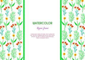 Vattenfärgsmyme och blommavektorram
