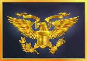Glödande guldpresidentförsegling vektor