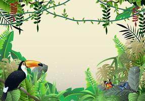 Vackra Illustrationer Av Tropisk Jungle Och Liana vektor