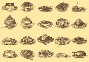 Vintage köstliche Gerichte vektor
