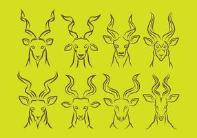 Kudu ikoner vektor