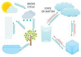 Wasser-Zyklus und Staaten vektor