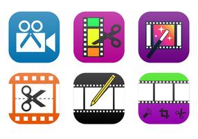 Kostenlose Videobearbeitung App Icon Vector