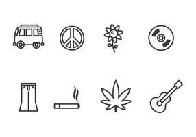 Hippie ikonuppsättning vektor