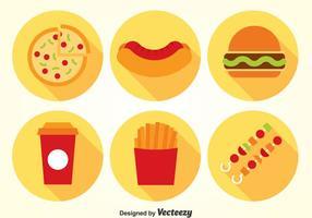 Fast Food Flach Icons Vektor