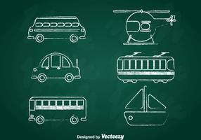 Transport Kreide Zeichnen Icons Set