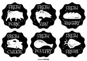 Unordentliche Hand gezeichnete Art Nahrung Lables