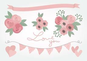 Vector Pink Love Floral Elemente