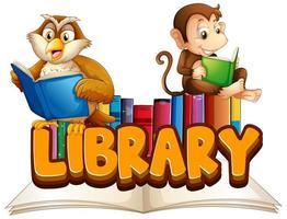 bibliotek med djur som läser bok vektor