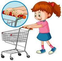 Mädchen berühren Einkaufswagen mit Keim