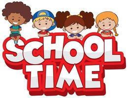 grupp barn redo för skolan