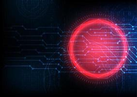 Hintergrund der digitalen Datenverschlüsselung mit leuchtend rotem Kreis