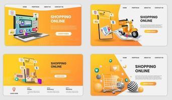 shoppa online på webbplatsen vektor