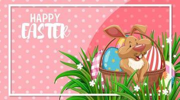 Fröhliches Ostern mit süßem Hasen vektor