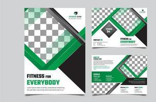 gym bi vikning grön broschyr mall design
