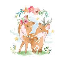 kära familj med blommor