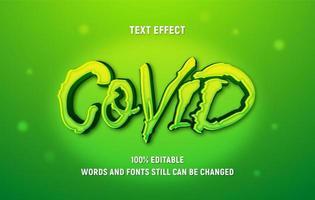 bearbeitbarer grüner Covid-Text vektor