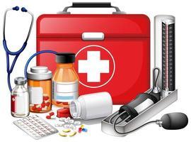 Set medizinischer Geräte mit rotem Erste-Hilfe-Kasten