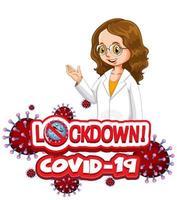 coronavirus-affischdesign med ordlåsning och lycklig läkare vektor