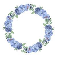 akvarell blå ros blommig cirkel ram