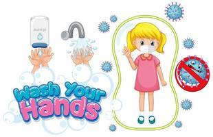 Waschen Sie Ihre Hände Poster Design mit blondem Mädchen tragen Maske vektor