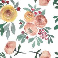 sömlösa mönster med blommande akvarell ros