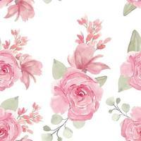 Aquarell handgemaltes rosa Rosen nahtloses Muster