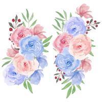 akvarell rosblomma bukett i rosa, blått