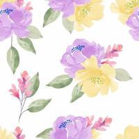 nahtloses Muster der lila, gelben Aquarellpfingstrose