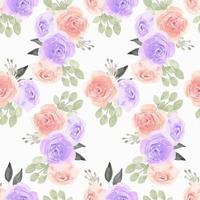 akvarellmönster med lila, rosa rosblomma