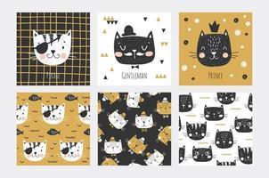 Katze steht Karten und nahtlosen Mustern gegenüber