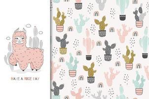 sömlös rosa babylama och kaktusbakgrund vektor