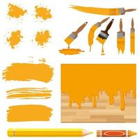 Satz Aquarellmalerei in Gelb mit Pinseln