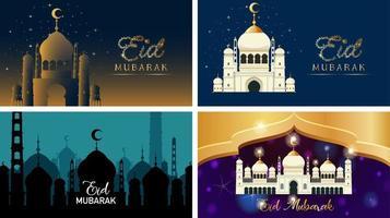 vier Hintergrundentwürfe für muslimisches Festival eid mubarak vektor