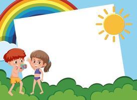 bakgrundsmalldesign med barn i trädgården