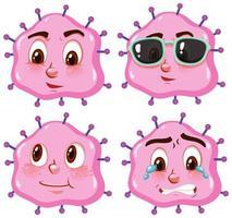 rosa Viruszellen mit unterschiedlichen Gesichtsausdrücken vektor