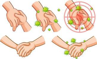 coronavirus tema med handen full av bakterier vidrör andra handen vektor