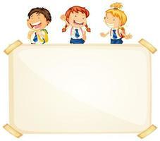 Rahmenschablonendesign mit drei glücklichen Schülern
